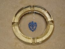VTG THE PLAZA HOTEL NEW YORK CLEAR GLASS ASHTRAY W/BLUE LOGO