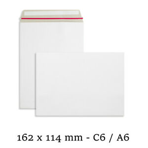 C6 Strong All Board White Rigid Card Peel & Seal A6 Envelopes Free P&P