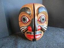 NORTHWEST COAST CEREMONIAL DOUBLE FACE MASK, HAND CARVED & PAINTED, #WY-01611
