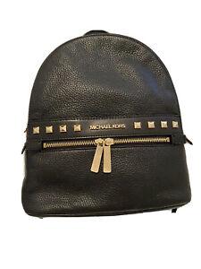 Michael Kors Kenly Medium Backpack Genuine Leather Black / Gold  w Dustbag $379