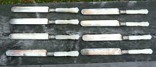 "8 Antique Meriden Cutlery Co MOP Handle Sterling Collar # 12  8"" Butter Knives"