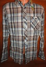 $69 Mens XL DKNY JEANS Button Front Long Sleeve Navy Blue Brown Plaid Shirt