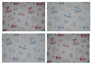 2 x SHEETS AGE 1 WRAPPING PAPER Pink Blue BABY'S 1st BIRTHDAY GIFT WRAP Girl Boy