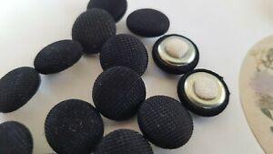 Vintage shank button new from shop 12pcs, diameter 13.9mm,colour: black textile