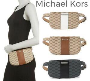 NWT Michael Kors Brown Fanny Pack Belt Pouch Bag S/M MK Logo 556137 Top Zipper