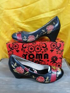 Yoma Julissa Ladies leather Shoes. Slip on with contoured heel. SZ 41 new boxed