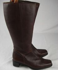 Fly Flot Brown Womens Knee High Boots Size 4 Leather Riding Comfort Low Heel