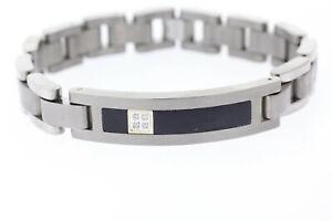 Men's 12mm Titanium & 14k Yellow Gold Diamond Accented Bracelet 9 inches