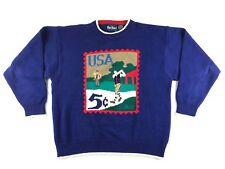 Par Four Sweater X-Large XL Blue Golf Stamp USA Ryder Cup Support Pullover