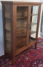 ANTIQUE MISSION OAK DOUBLE GLASS DOOR CHINA CABINET BY UNION FURN. CO NEW YORK