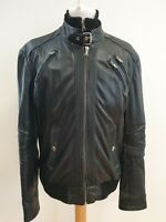 I914 MENS ZARA MAN BLACK LEATHER CASUAL BOMBER STYLE JACKET UK LARGE L EU 54