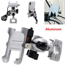Silver Aluminum Motorcycle Handlebar Phone Holder USB Charger Quick Charge QC3.0