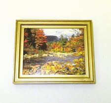 Dollhouse Mini Autumn By The Stream Framed Picture 1:12 Doll House Miniatures
