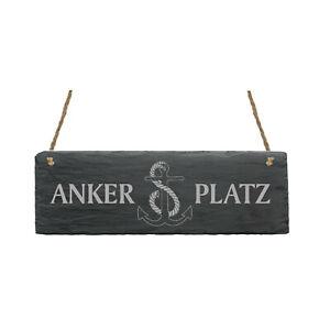 Schild « ANKERPLATZ » Anker Schiefer maritim Nordsee Ostsee Geschenk Türschild