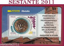 TESSERA FILATELICA FRANCOBOLLO FESTIVAL INTERNAZIONALE  FILATELIA 2009 2008 M55
