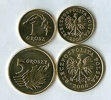 2 UNCIRCULATED COINS from POLAND - 1 & 5 GROSZY (BOTH DATING 2008)