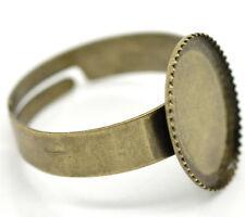 1x Einstellbarer Ringrohling Bronze für 10 x 14 mm Cabochon Kamee DIY Basteln