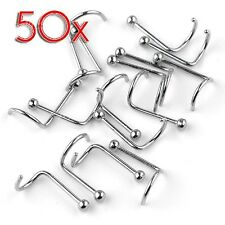 50pcs Stainless Steel Screw Stud Nose Ring Nostril Piercing Bars Body Jewelry