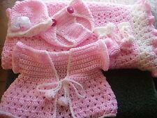 HAND CROCHET BABY GIRLS 38x38 BLANKET PINK/WHITE , HELP A CANCER SURVIVOR!