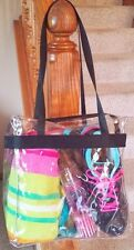 Clear Vinyl See Thru Tote Bag Purse Stadium Security Zippered NFL Beach 12x12x6