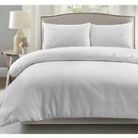 Luxury Bordered Waffle 100%Cotton Soft Quilt Duvet Cover Pillowcases Bedding Set