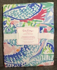 """Lilly Pulitzer Pottery Barn Kids Shower Curtain In MERMAID'S COVE New 72"""" x 72"""""""