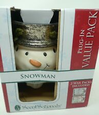 ScentSationals SNOWMAN Wickless Candles Scent Warmer w/2 Wax Packs