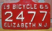 1965 ELIZABETH NJ BICYCLE License Plate 2477 Embossed Steel Sign New Jersey Bike