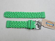 Fossil 18mm braided unisex men's lady's leather watch band green S181127