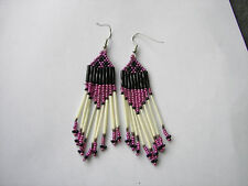 "Porcupine quill  earrings Metalic Pink /black  NEW Native American 3"" long"