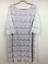 Jessica Howard 22W Dress White Lace Shift Wedding Crochet Bride Formal Party