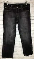 White House Black Market Jeans Denim Stretch Noir Black Women's Size 10 Bling
