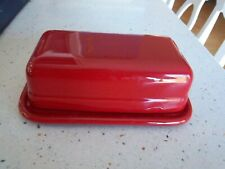 """BUTTER DISH Red Emile Henry France Covered Butter Dish Rectangular 1622 7""""x4"""""""