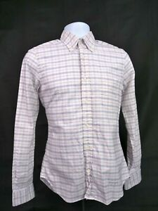 """GANT Rugger NEW HAVEN CT """"the Hugger"""" Oxford Red White Plaid shirt Small S"""