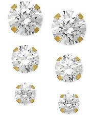 $400 Swarovski Womens Zirconia Round 3/8-1-3/4 Ct. T.W. 14k Yellow Gold Earrings