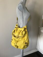 BALENCIAGA Womens Giant 21 Pompon Bag Yellow Leather Gold-Studs Purse