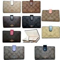 Coach Medium Corner Zip Wallet Signature Sig PVC Leather F23553 Coin Wallet