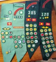 Vintage Group Of Four Girl Scouts Sashes With Merit Badges, Pins, Patches & More