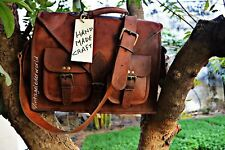 Women Genuine Vintage Brown Leather Messenger Bag Shoulder Laptop Bag Briefcase