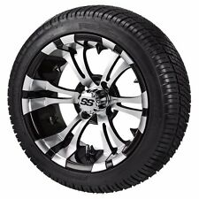Set of 4 - 215/35-12 Tire on a 12x7 Black/Machined Type 12 Wheel w/FREE freight