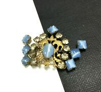 Unique Victorian Deco Vintage Blue Cats Eye & Rhinestone Gold Crown Brooch MM52e