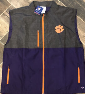 Champion Clemson Tigers Sleeveless Vest Purple Gray Active Nylon Poly Zip 2XL