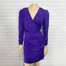 & Other Stories Purple Jacquard Wrap Front Dress - Size 10