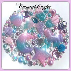 XL Pastel Glitter Wings Unicorn Heart Bow Moon & Star Theme Flatbacks Decoden #1