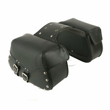 PU Leather Black Tool Luggage Saddle Bag Cross For Harley Sportster Softail Dyna