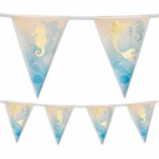 4m Foil Mermaid Bunting Banner Garland Mythical Party Decoration