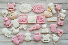 28 pink & White baby girl christening edible cupcake toppers by Emma,