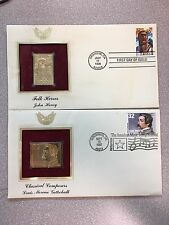 US Postal Service Two 22KT Gold Folk Heroes & Classical Composers Stamps