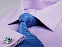 Men's Lilac Formal Business Dress Shirt Double / Button Cuff Spread Collar Style