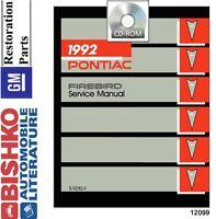 1992 Pontiac Firebird Trans Am Shop Service Repair Manual CD Engine Drivetrain